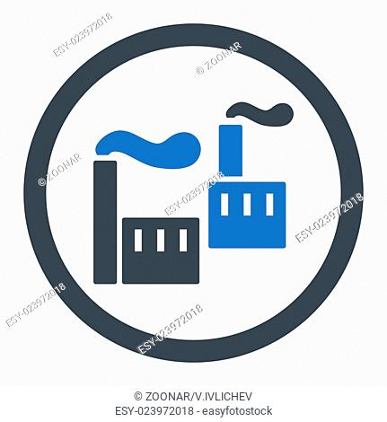 Industry flat smooth blue colors rounded vector icon