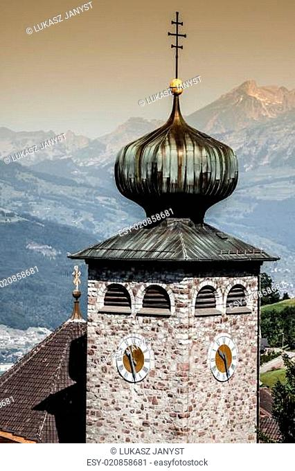 Downtown of Liechtenstein kingdom capital,Vaduz, tiny country in Europe