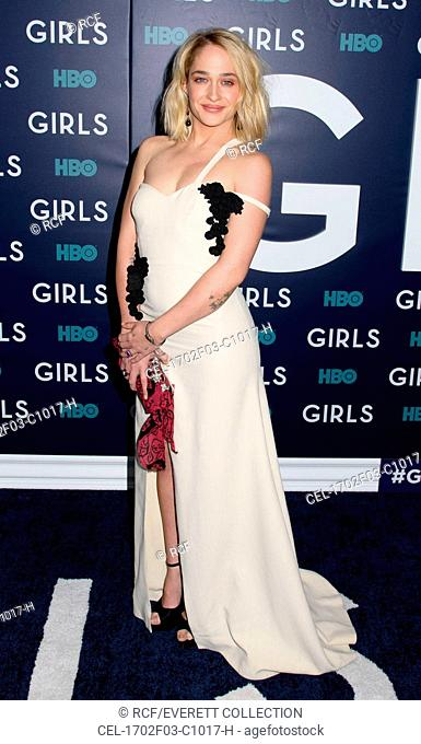 Jemima Kirke (wearing a Rosie Assoulin dress) at arrivals for GIRLS Season Six Premiere, Alice Tully Hall at Lincoln Center, New York, NY February 2, 2017