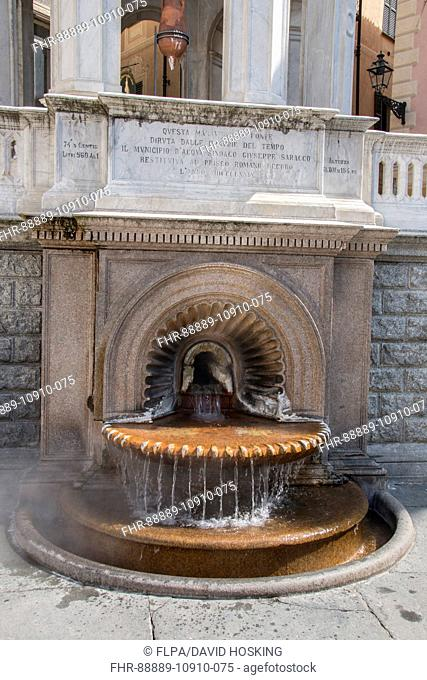 The Hot Sulphur Spring at La Bollente in the centre of Acqui Terme, Piemont Italy
