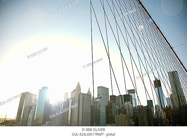 City skyline and urban bridge