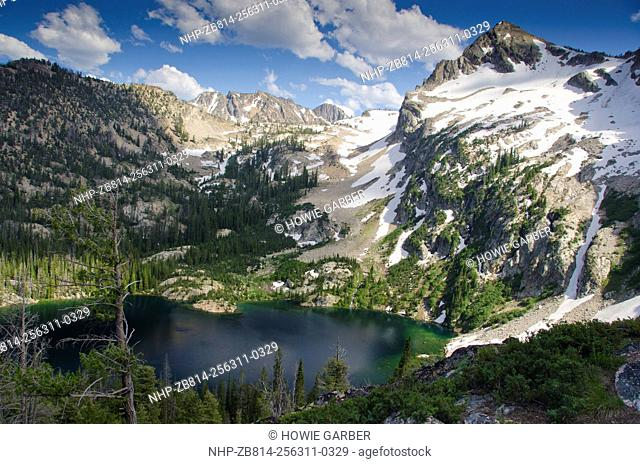 Alpine Lake and Alpine Peak, Sawtooth National Forest, wilderness area, Sawtooth National Recreation area, near Stanley, Idaho