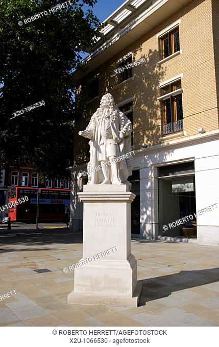 Sir Hans Sloane statue in Duke of York Square, King's Road, Chelsea, London, England