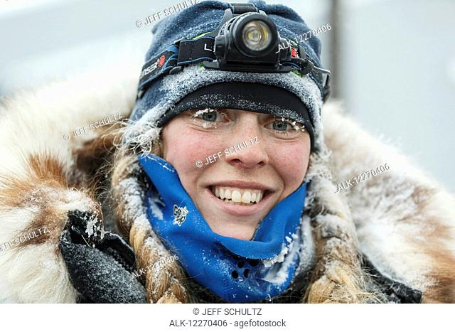 Kristi Berington portrait shorlty after she crossed the finish line in Nome during the 2014 Iditarod Sled Dog Race