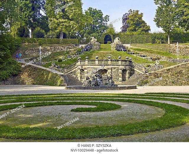 Cascade and Neptune fountain in Castle Park Fantaisie, Eckersdorf, Upper Franconia, Bavaria, Germany