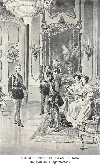Carlo Alberto of Savoy announcing his willingness to abdicate to his family, February 9, 1848, drawing by Achille Beltrame (1871-1945)