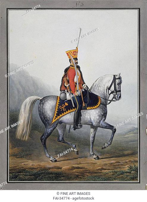 Soldier of the Life-Guards Hussar Regiment by Sauerweid, Alexander Ivanovich (1783-1844)/Watercolour on paper/Neoclassicism/1817-1824/Russia/State Hermitage, St