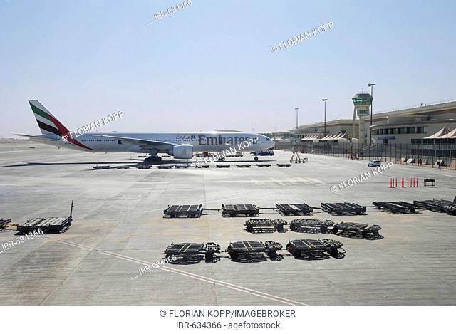 Boeing 777-300 of the airline Emirates at Dubai International Airport, United Arab Emirates