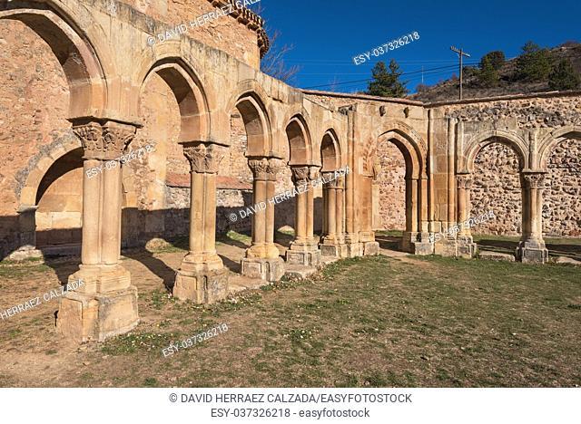 Famous landmark San Juan de duero monastery cloister ruins in Soria, Castilla y Leon, Spain