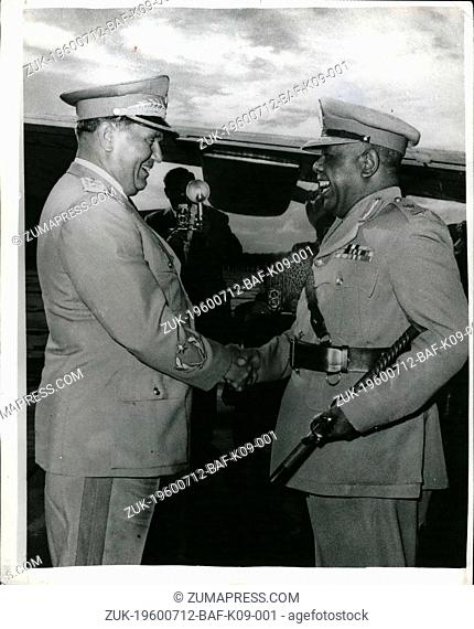 Jul. 12, 1960 - 12-7-60 President of the Sudan arrives in Belgrade ?¢'Ǩ'Äú The President of the Supreme Military Council and Prime Minister of the Sudan