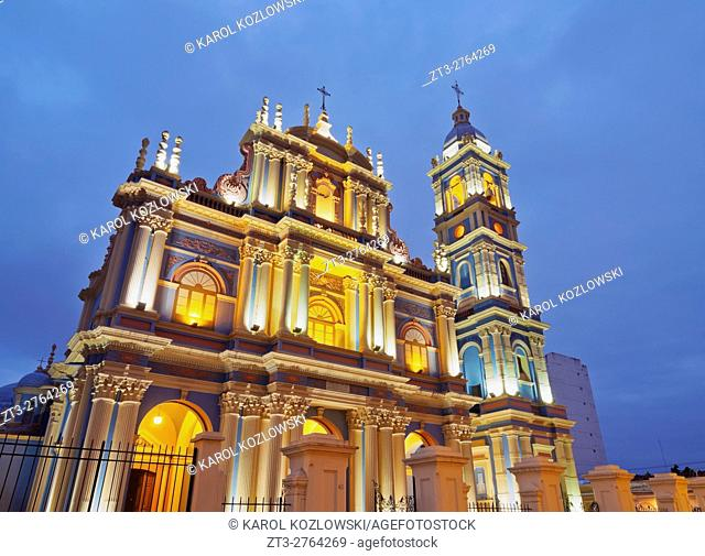 Argentina, Salta, Twilight view of the La Vina Church