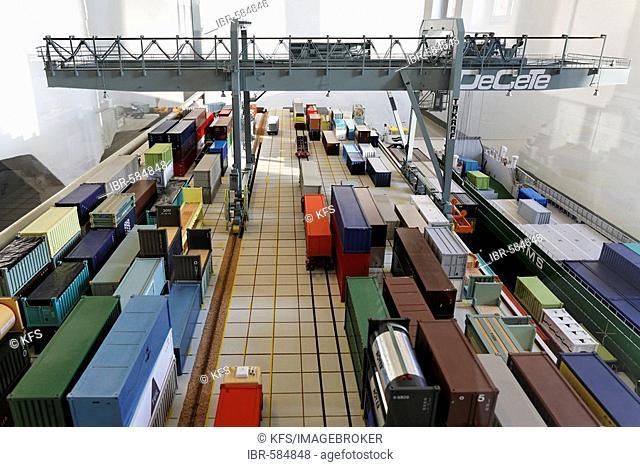 Model of a container terminal, exhibit at the Museum der Deutschen Binnenschifffahrt (museum of German inland navigation), Duisburg-Ruhrort, NRW, Germany