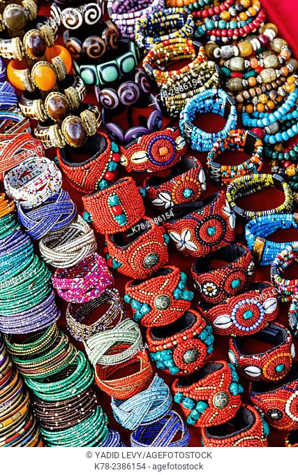 Detail of bracelets and rings at the Tibetan Market in Wednesday Flea Market in Anjuna, Goa, India