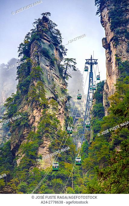 China, Hunan Province, Zhangjiajie City, Zhangjiajie Scenic Park, Wulingyuan, Huangshi Cable car