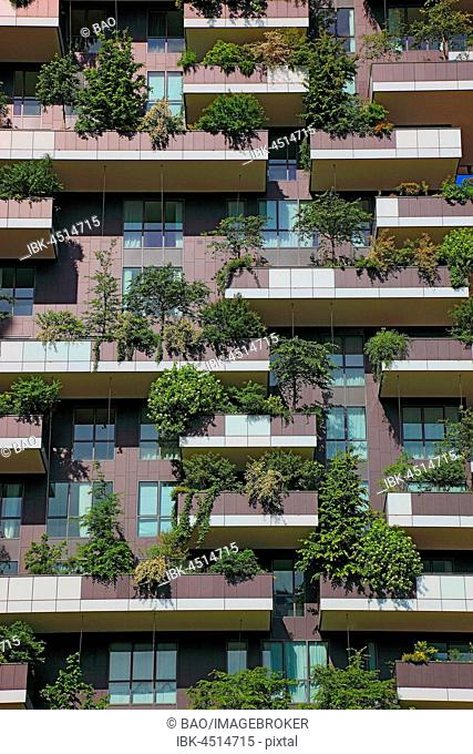 Facade, Bosco Verticale, twin tower, green high-rise with trees and shrubs, Milan, Lombardy, Italy