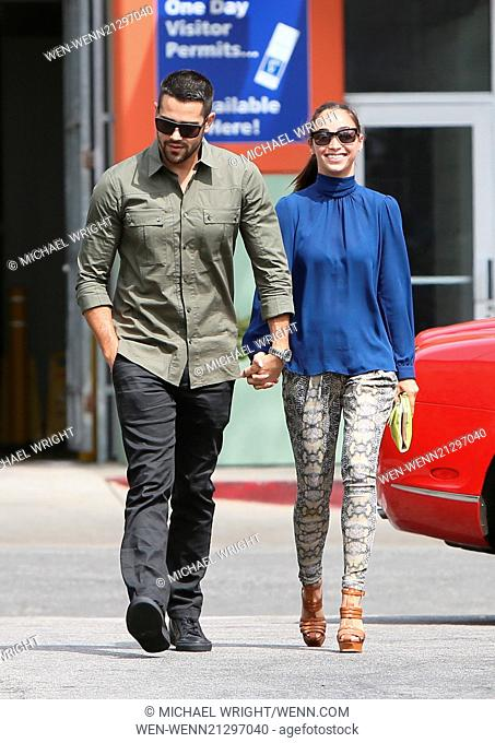 Jesse Metcalfe and Cara Santana seen leaving Hugo's Restaurant Featuring: Jesse Metcalfe,Cara Santana Where: Los Angeles, California