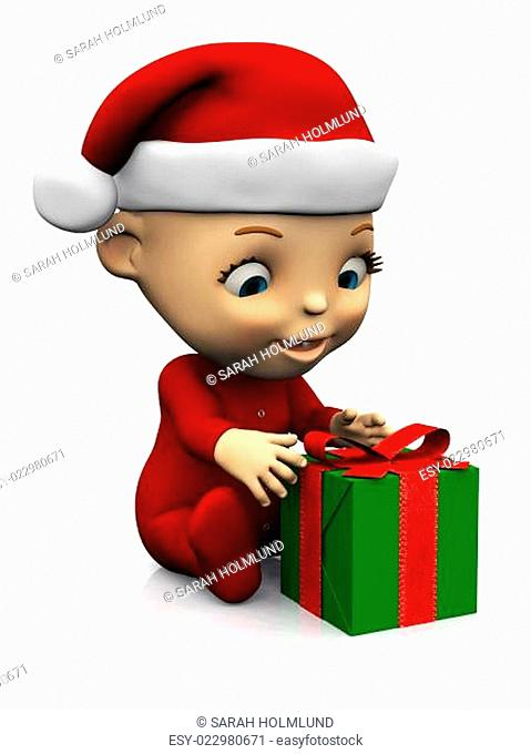 Cute cartoon baby with Christmas gift nr 2