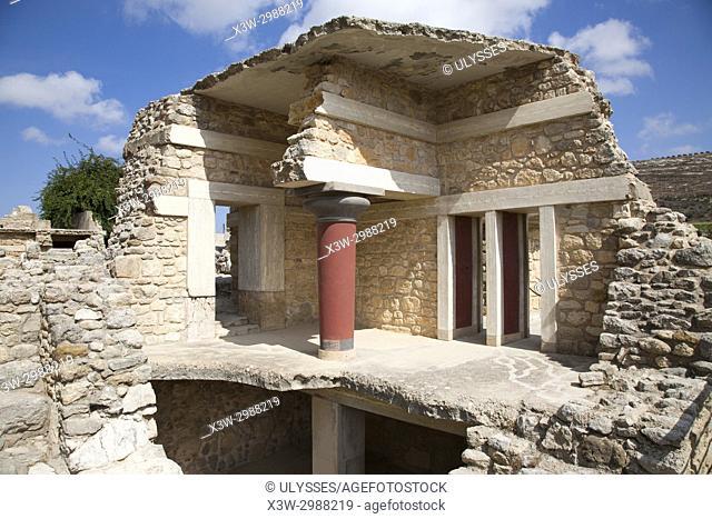 South entrance, Knossos palace archaeological site, Crete island, Greece, Europe