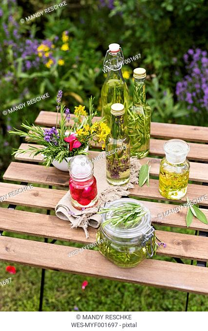 Different herb oils, thyme, rose, lavender, salve, rosemary and saint john's wort