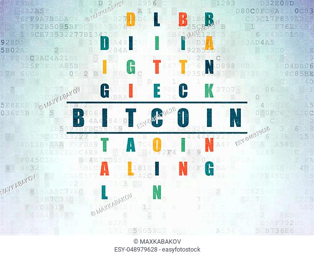Cryptocurrency concept: Painted blue word Bitcoin in solving Crossword Puzzle on Digital Data Paper background