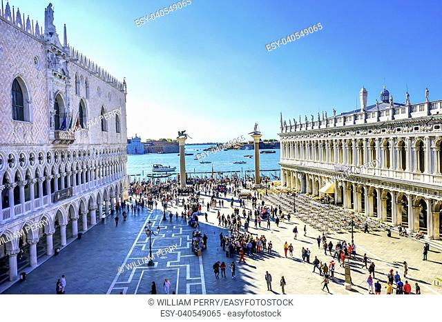 Doge's Palace Grand Canal Piazza San Marco Saint Mark's Square Venice Italy. Famous Entrance to Saint Mark's Square