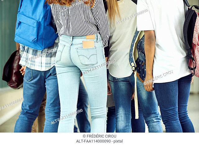 Group of students dressed in jeans, cropped rear view
