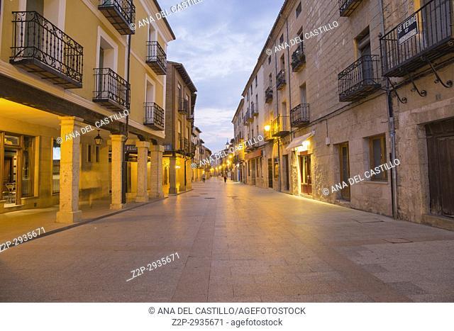Burgo de Osma village Soria province Castile Leon Spain on June 11, 2017. Main street twilight