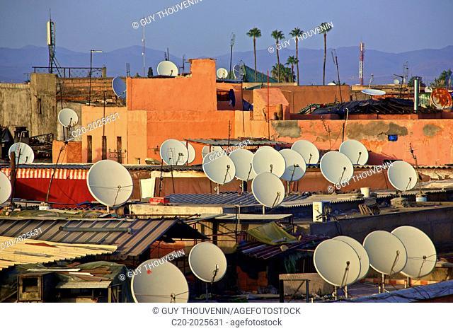 Restaurants, terraces, roofs and TV aerials, Jemaa-el-Fna square, Marrakech, Morroco, North Africa
