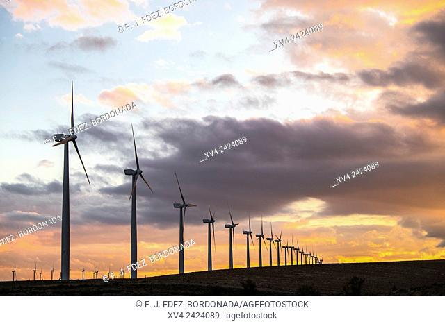 Windmills in Borja area. Tarazona and Moncayo region, Aragon, Spain