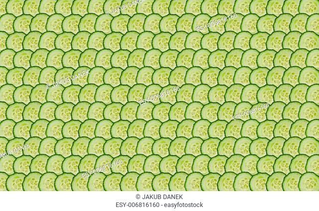 thin cucumber slices on lines