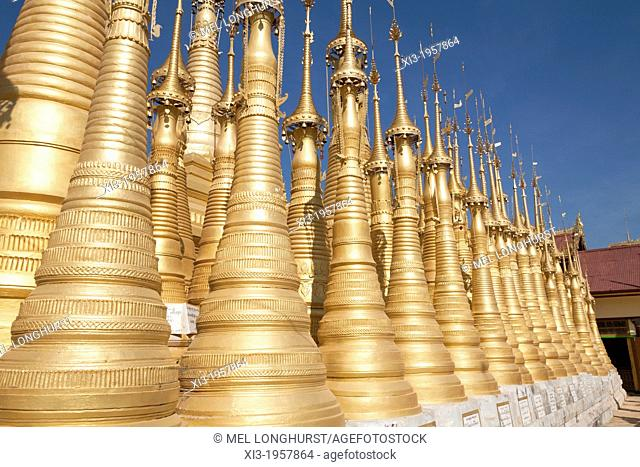 Some of the numerous golden stupas at the Shwe Indein Pagoda, Indein, Shan State, Myanmar, (Burma)