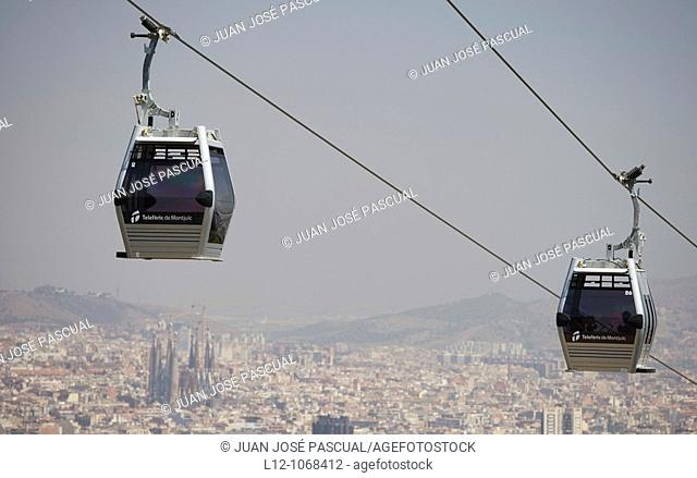 Cableway and general view from Montjuic, Barcelona, Catalonia, Spain