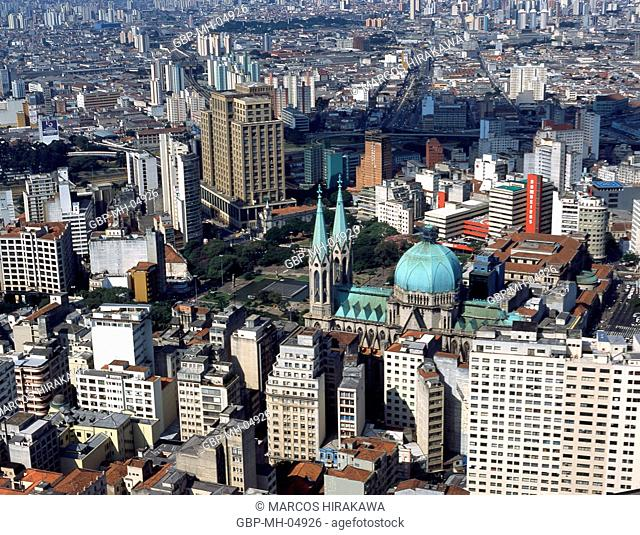Aerial view, Sé Cathedral, Sé Square, Downtown, Sao Paulo, Brazil