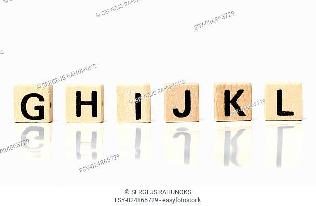Words. Toy bricks on a white background