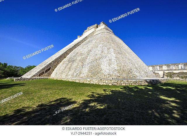 Pyramid of the Magician in the prehispanic Mayan city of Uxmal Archaeological Site, Yucatan Province, Mexico, North America