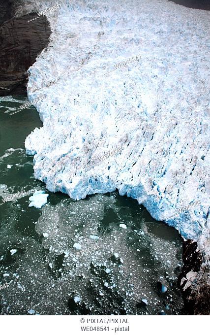 Aerial view of Le Conte Glacier in Le Conte Bay, Southeast Alaska, USA. This glacier is receeding at a dramatic pace
