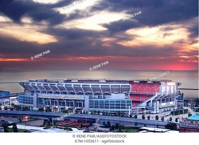 Cleveland Browns Stadium on the shores of Lake Erie with Cleveland Memorial Shoreway in front