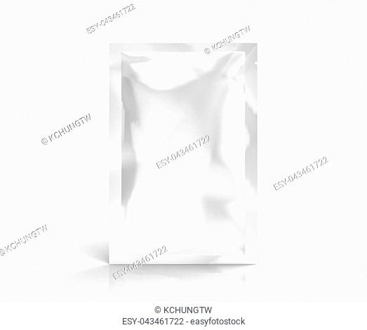 Facial mask package mockup, blank foil package template in 3d rendering, standing pack isolated on white background