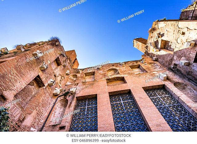 Facade Saint Mary Angels and Martyrs Rome Italy. Church designed by Michelangelo 1560 from Emperor Diocletian Baths