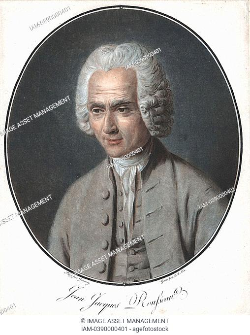 Jean-Jacques Rousseau 1712-1778, French political philosopher, educationalist and author  Aquatint after portrait by Garneray from Pierre Michel Alix 1752-1817...