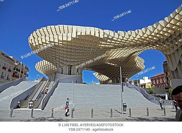 The Metropol Parasol Mushrooms Seville Andalusia Spain. World&39, s largest wooden structure. Completed in 2011 designed by Jurgen Mayer-Hermann