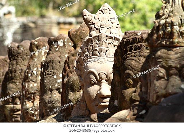 Statues at the South Gate of Angkor Thom, Cambodia