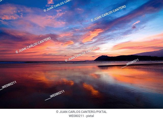 Beach at sunrise, Laredo. Cantabria, Spain