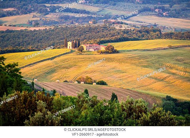 Vitaleta chapel, Pienza, Val d'Orcia, Tuscany, Italy