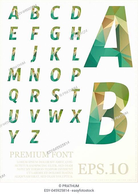 Green font Low poly artistic color font with brush texture