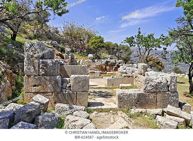 Temple ruins dating to the fifth century BC (Doric period) in Lato, Crete, Greece, Europe
