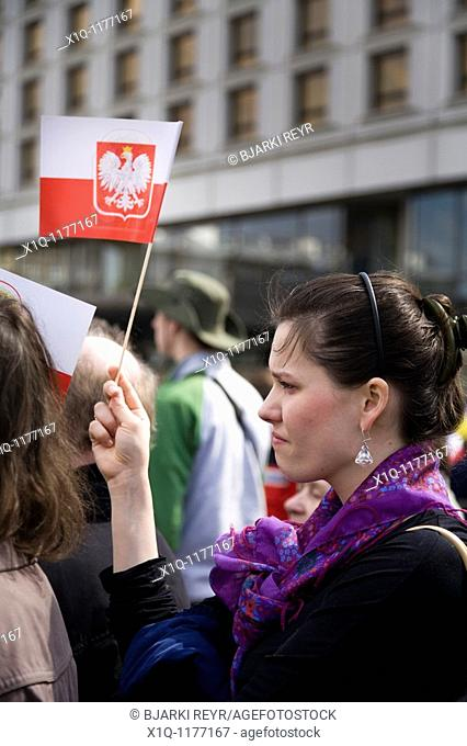 Warsaw Poland: Memorial service in memory of president Lech Kaczynski and 95 others who died in a plane crash in Smolensk