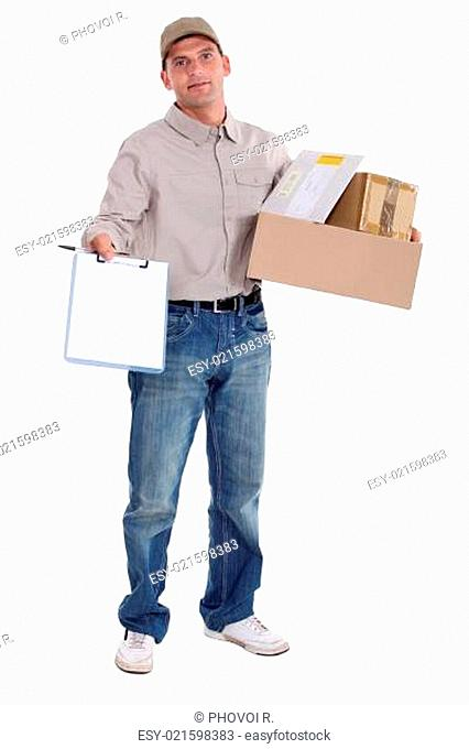 Courier with a signed for delivery