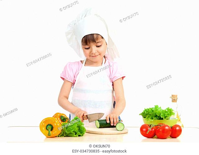 Chef kid preparing healthy food isolated on white