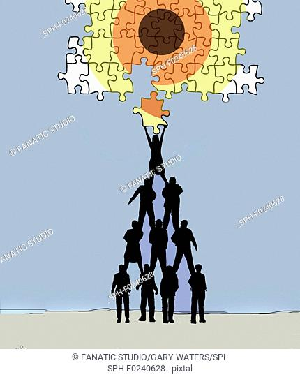 Conceptual illustration of a group of people forming a pyramid holding a jigsaw in the form of a target depicting objectives